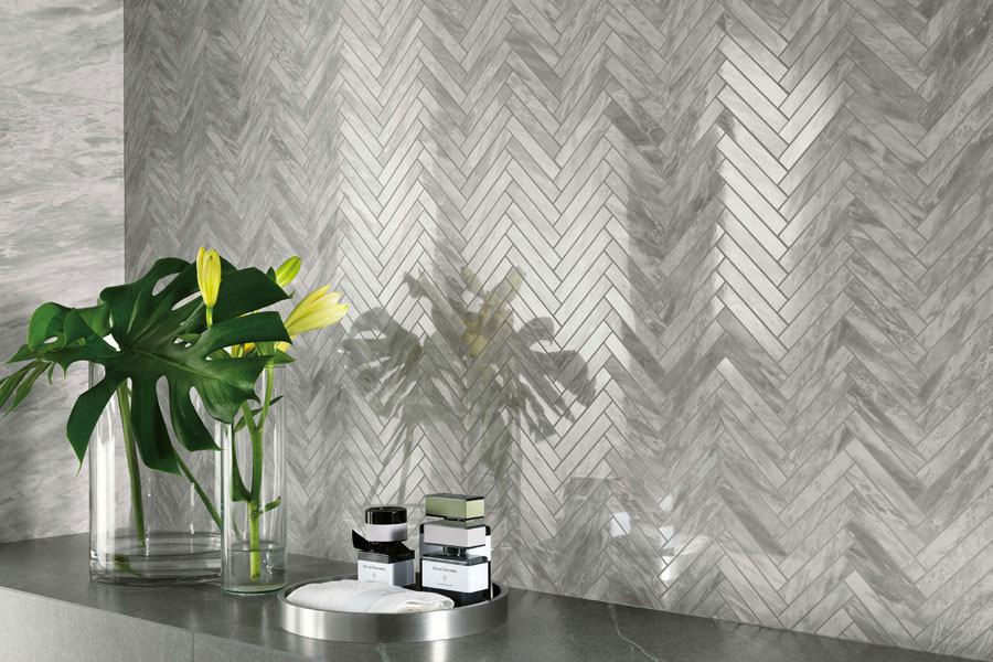 Marvel Bardiglio Grey Herringbone Wall