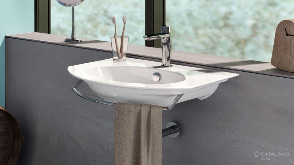 Velis 82x49cm függesztett mosdó, króm törölközőtartóval