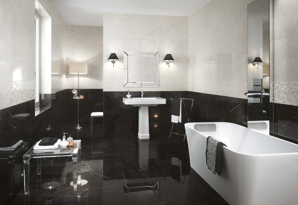 Roma Diamond Nero Reale és Carrara márványhatású fürdőszbai burkolat